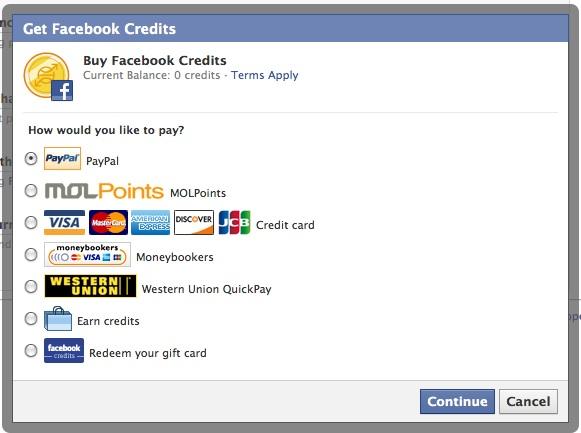 Покупка валюты Facebook Credits