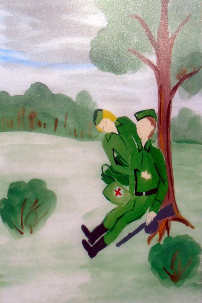 Перевязка ранения солдату