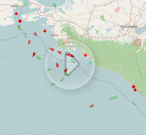 Карта движение судов на черном море