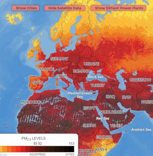Карта загрязнения всего мира