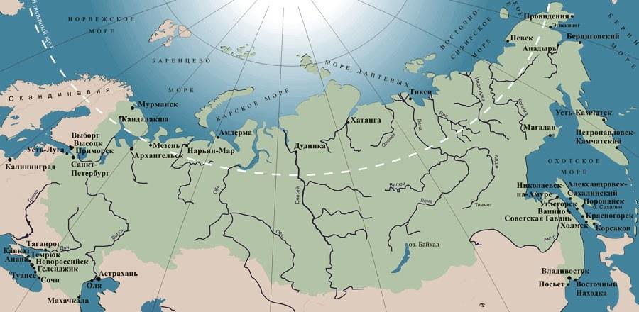 Карта морских портов России